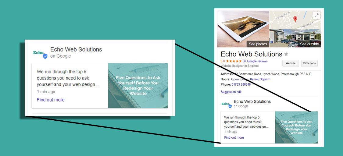 Google Posts example on Echo Web Solutions