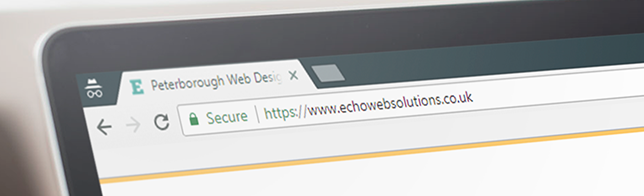 HTTPS from an SSL certificate ensures a green padlock and secure site like on Echo Web Solutions in this example
