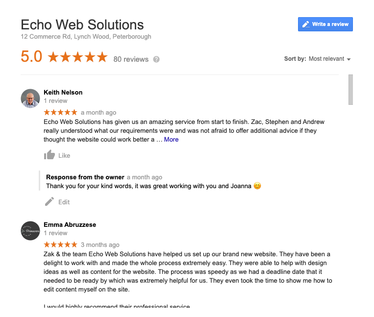 Echo Web Solutions Reviews