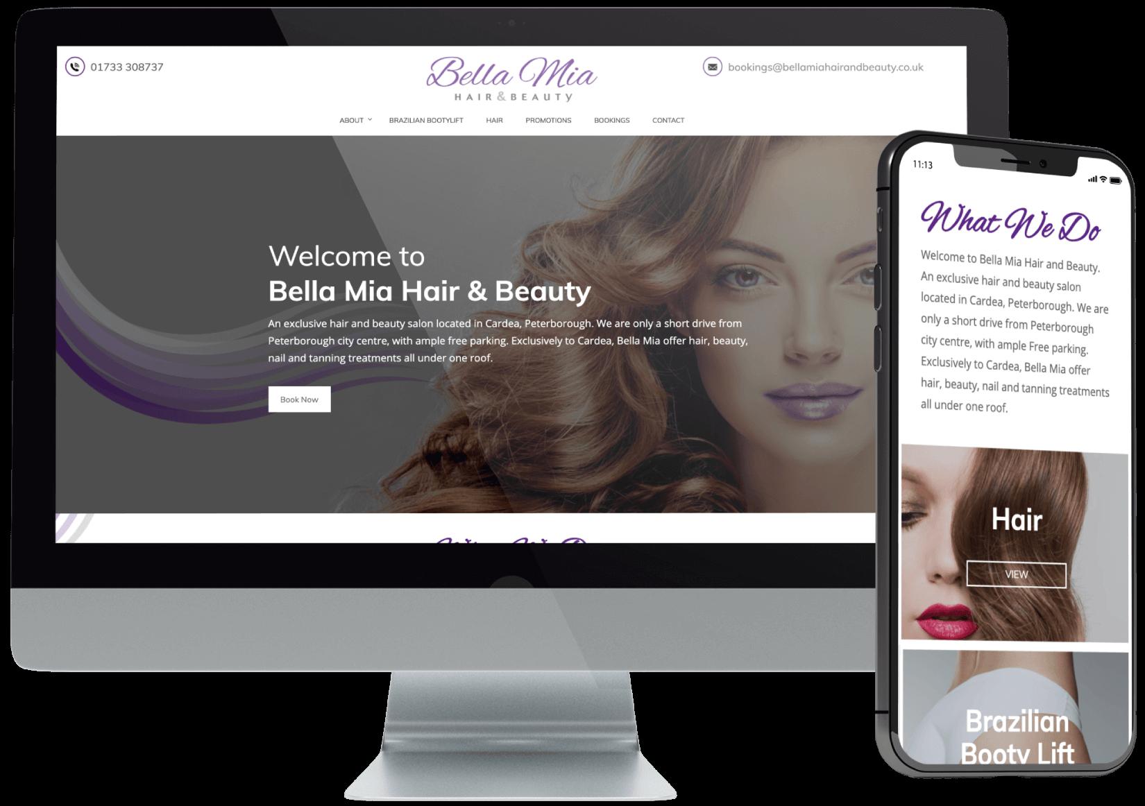 Bella Mia Hair Beauty Website Design